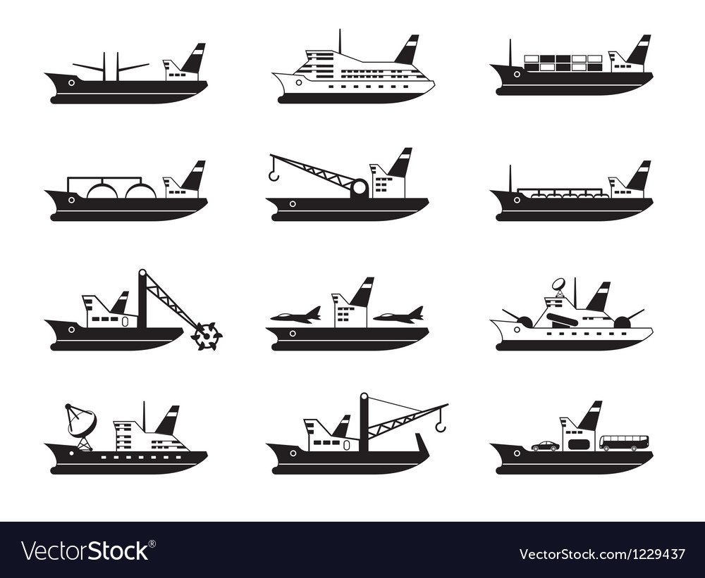 Diverse commercial and passenger ships vector | Price: 1 Credit (USD $1)