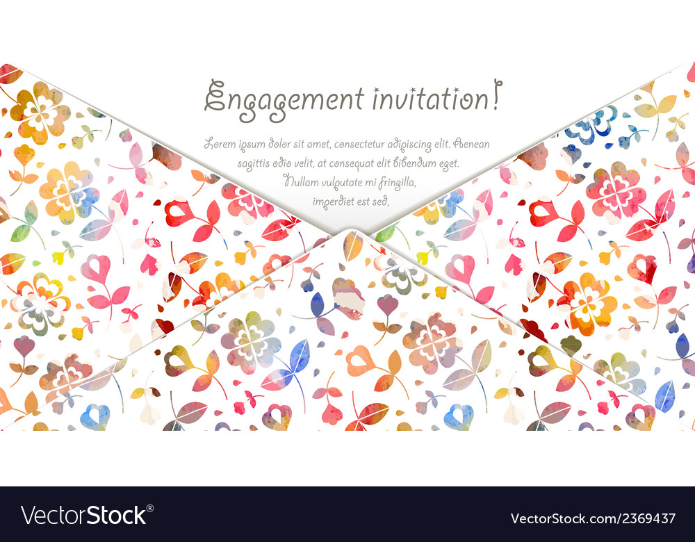Engagement invitation card with watercolor flowers vector | Price: 1 Credit (USD $1)