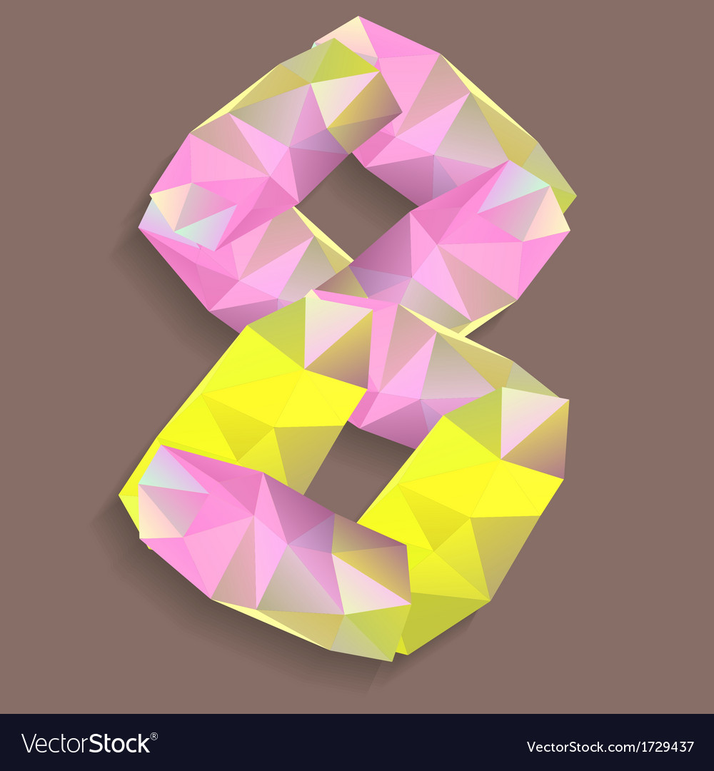Geometric crystal digit 8 vector | Price: 1 Credit (USD $1)