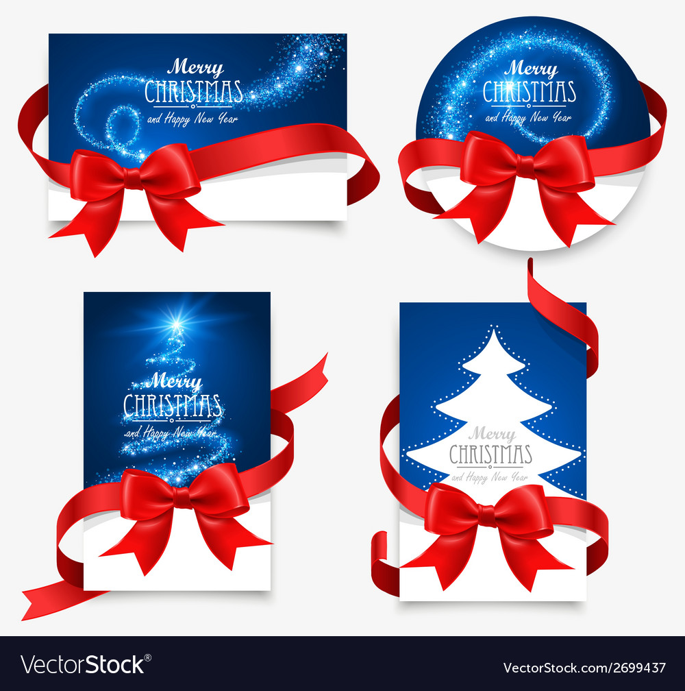 Gift cards with red bows vector | Price: 1 Credit (USD $1)