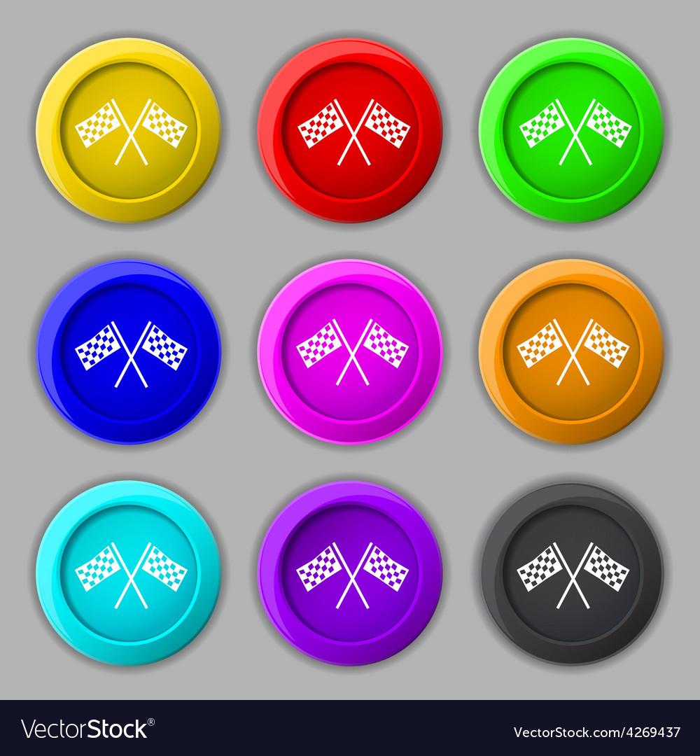 Race flag finish icon sign symbol on nine round vector | Price: 1 Credit (USD $1)