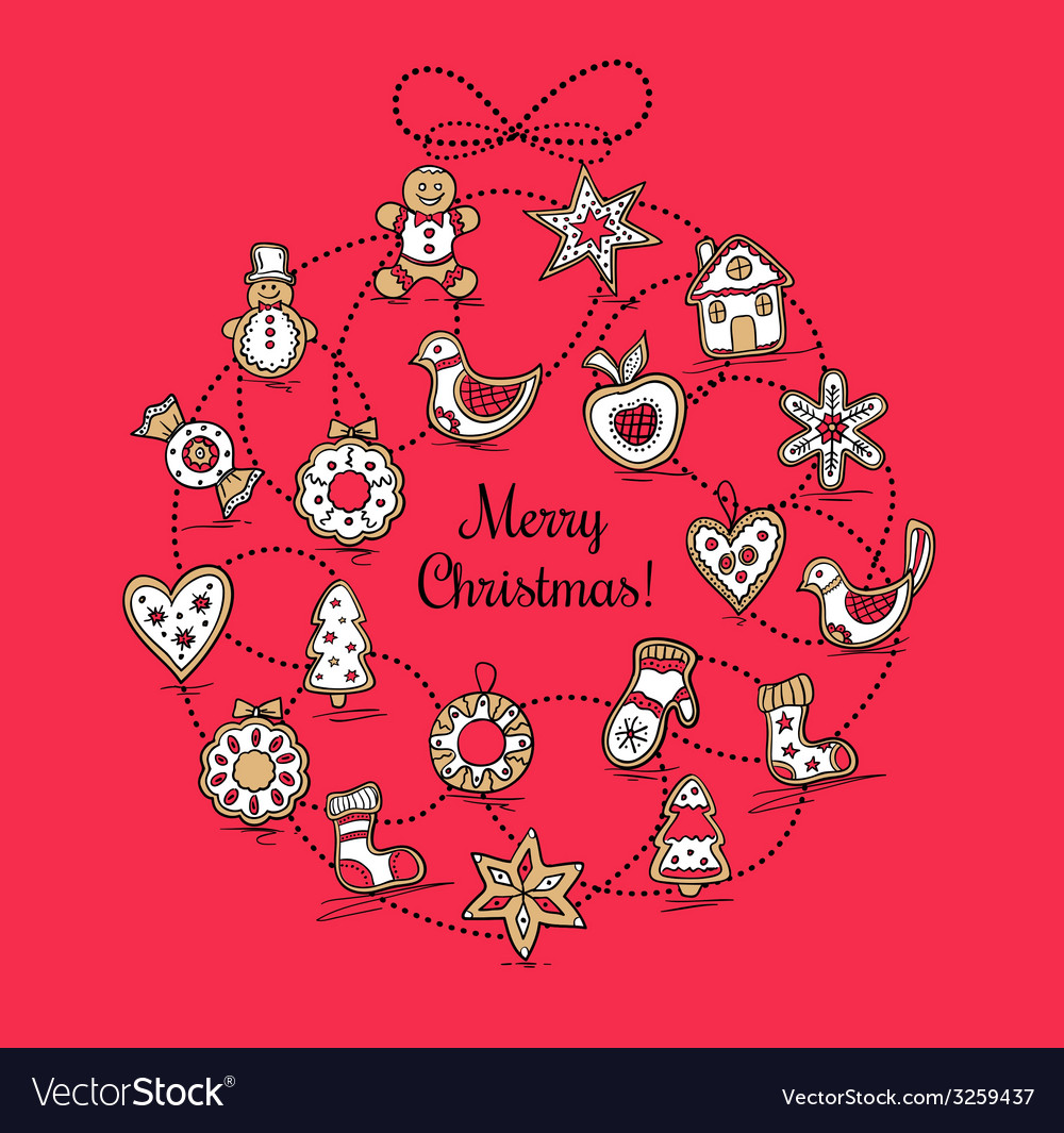 Red greeting card with christmas wreath vector | Price: 1 Credit (USD $1)