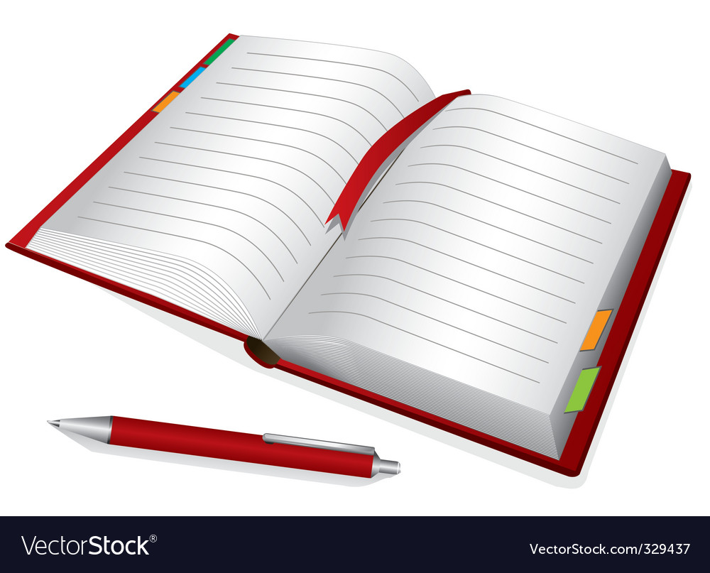 Red notebook vector | Price: 1 Credit (USD $1)