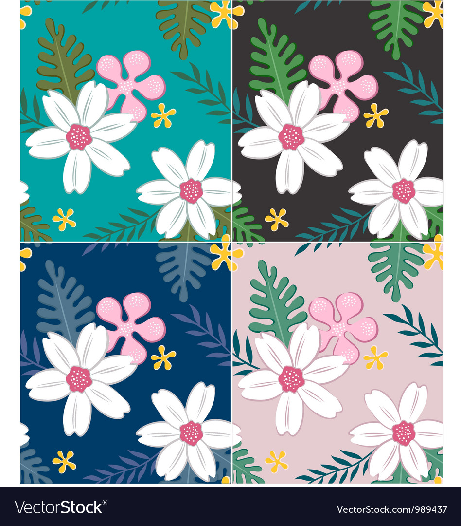 Seamless flower pattern design vector | Price: 1 Credit (USD $1)