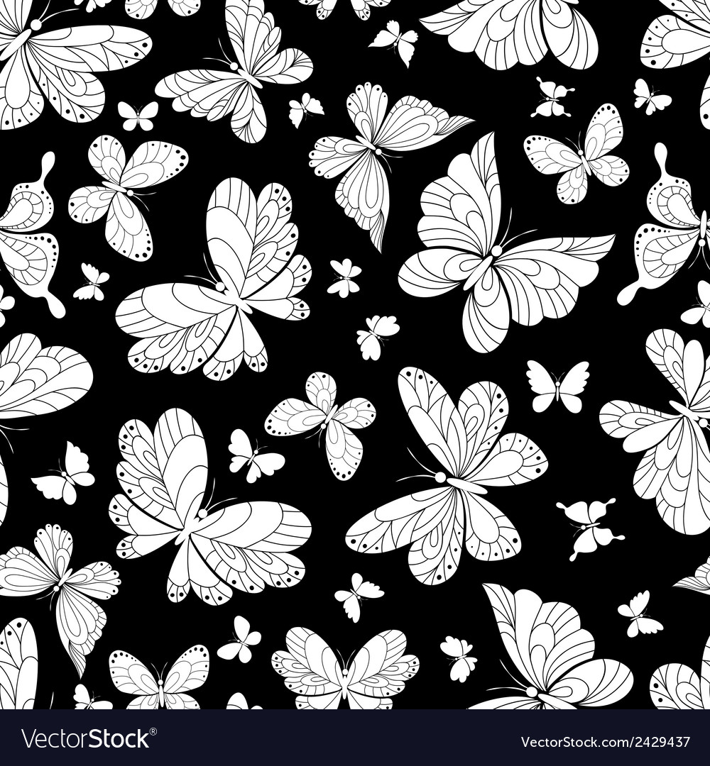 Seamless pattern of beautiful butterflies vector | Price: 1 Credit (USD $1)