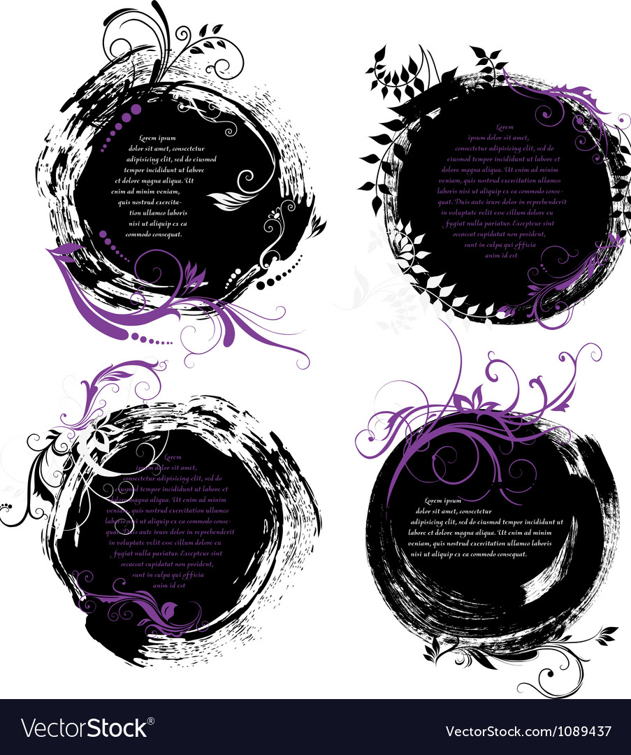 Set of grunge rounded banners vector | Price: 1 Credit (USD $1)