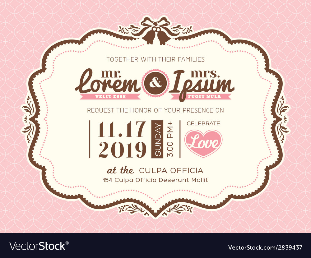 Vintage frame wedding invitation card template vector | Price: 1 Credit (USD $1)