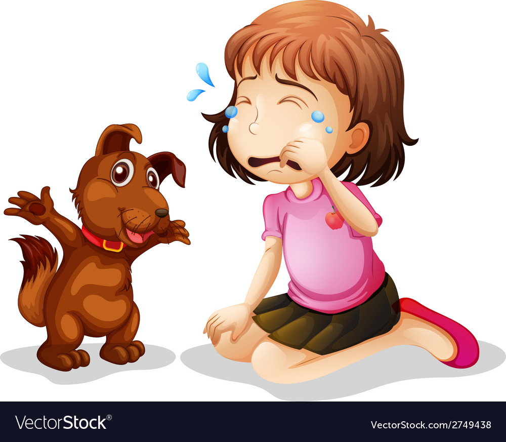 A little girl crying vector | Price: 1 Credit (USD $1)
