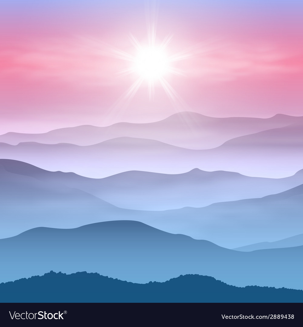 Background with sun and mountains in the fog vector | Price: 1 Credit (USD $1)