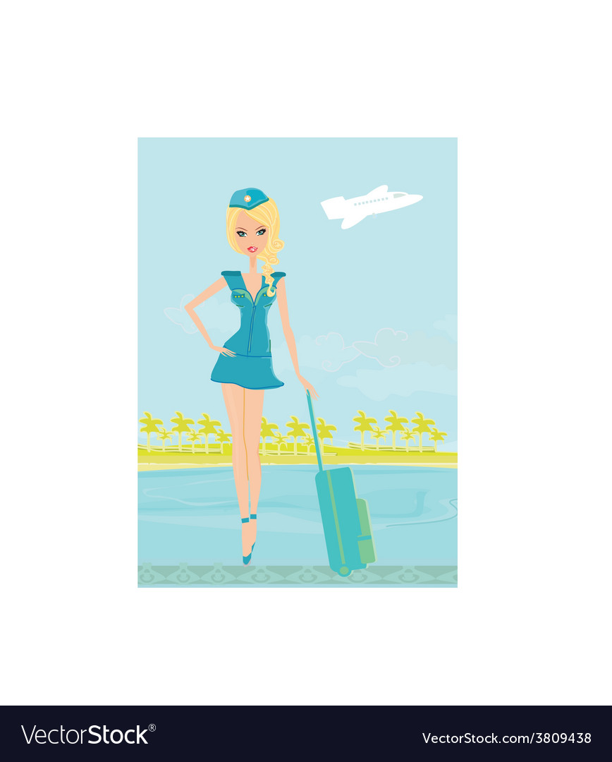 Beautiful stewardess with baggage on airport vector | Price: 1 Credit (USD $1)