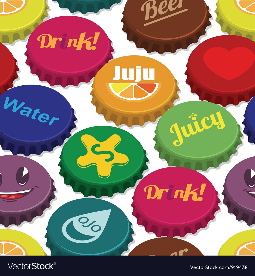 Bottle caps seamless background pattern vector | Price: 1 Credit (USD $1)