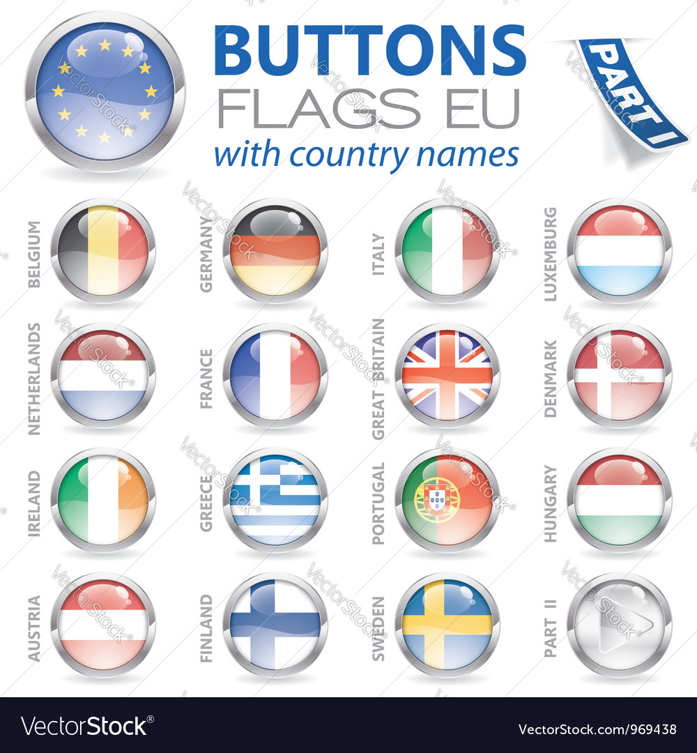 Buttons with eu flags vector | Price: 1 Credit (USD $1)
