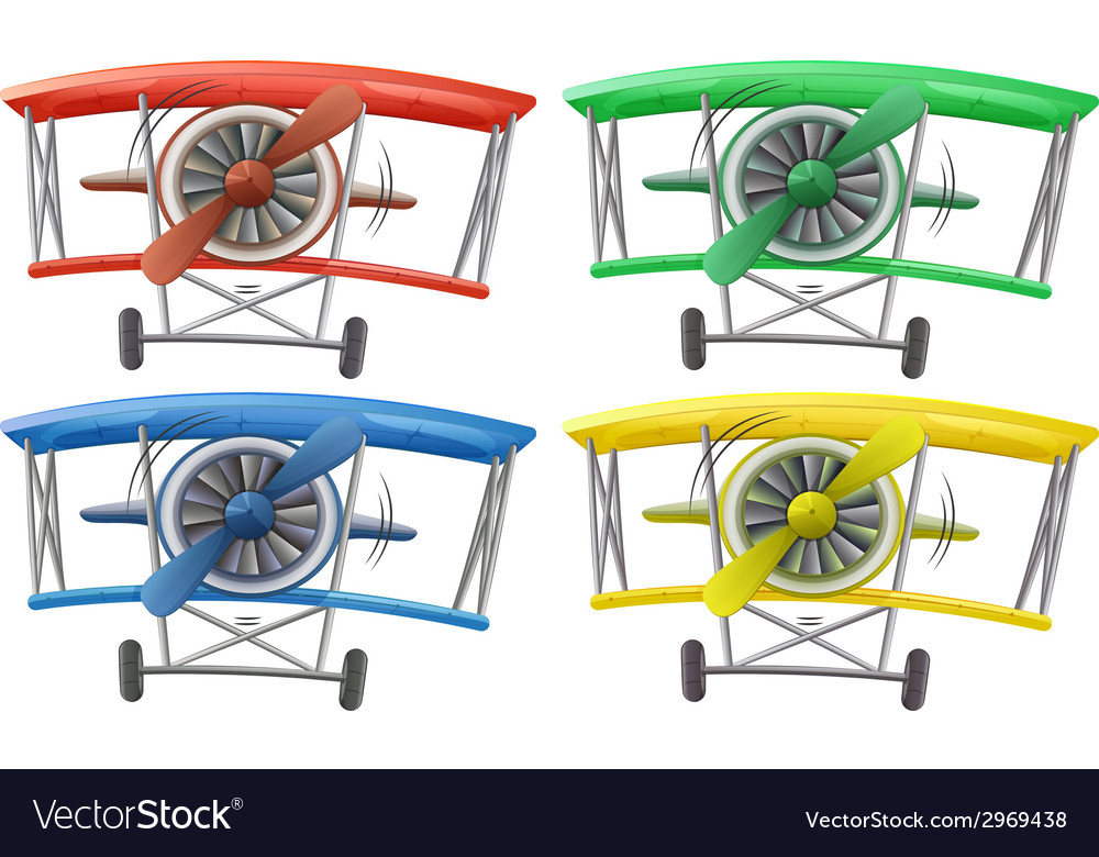 Different colors of a vintage plane vector | Price: 1 Credit (USD $1)