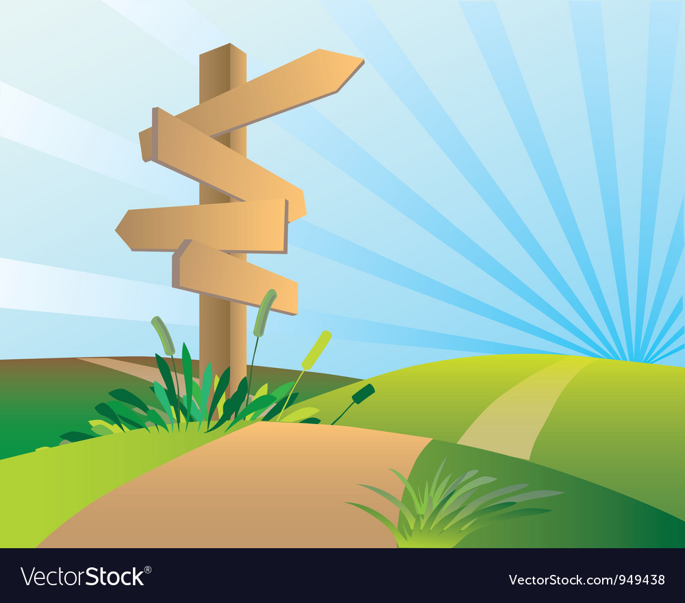 Directions sign post vector | Price: 1 Credit (USD $1)