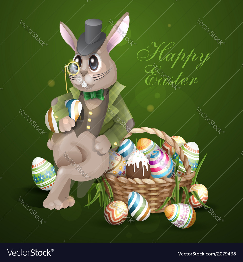 The easter bunny with a basket vector | Price: 3 Credit (USD $3)