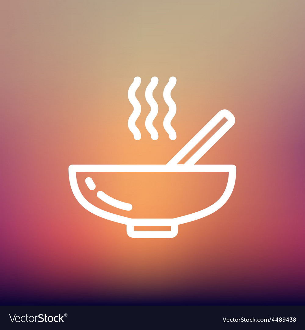 Hot meal in bowl thin line icon vector | Price: 1 Credit (USD $1)