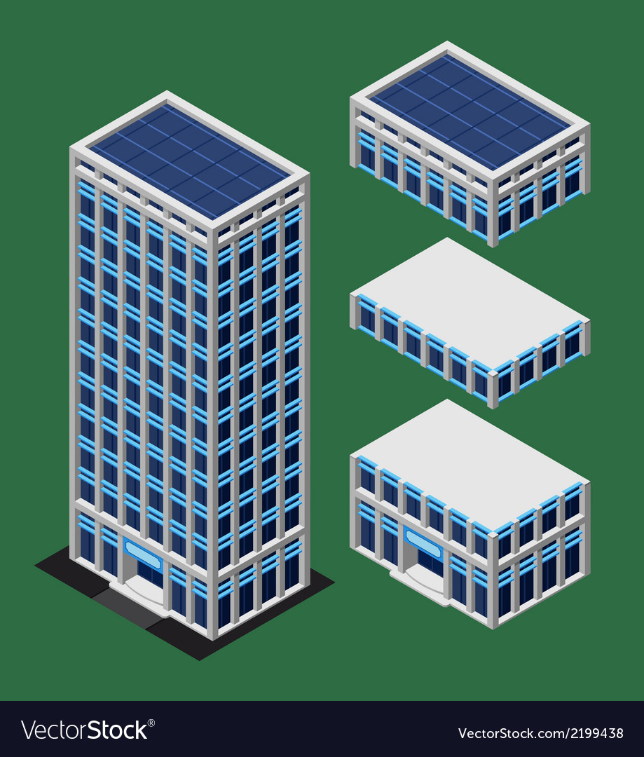 Isometric modern building vector | Price: 1 Credit (USD $1)