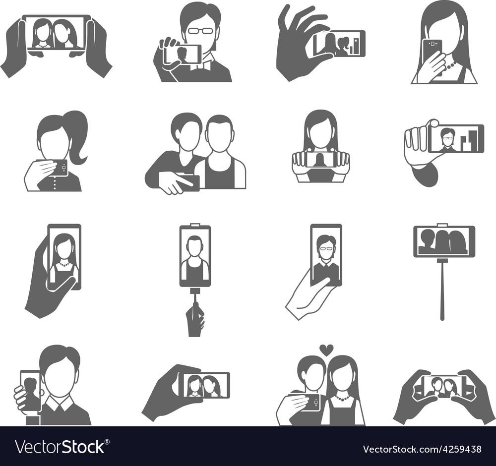 Selfie icons set vector | Price: 1 Credit (USD $1)