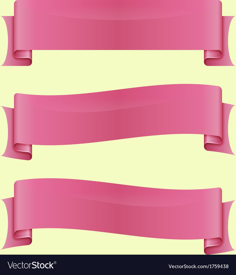 Set of pink sleek web ribbon vector | Price: 1 Credit (USD $1)
