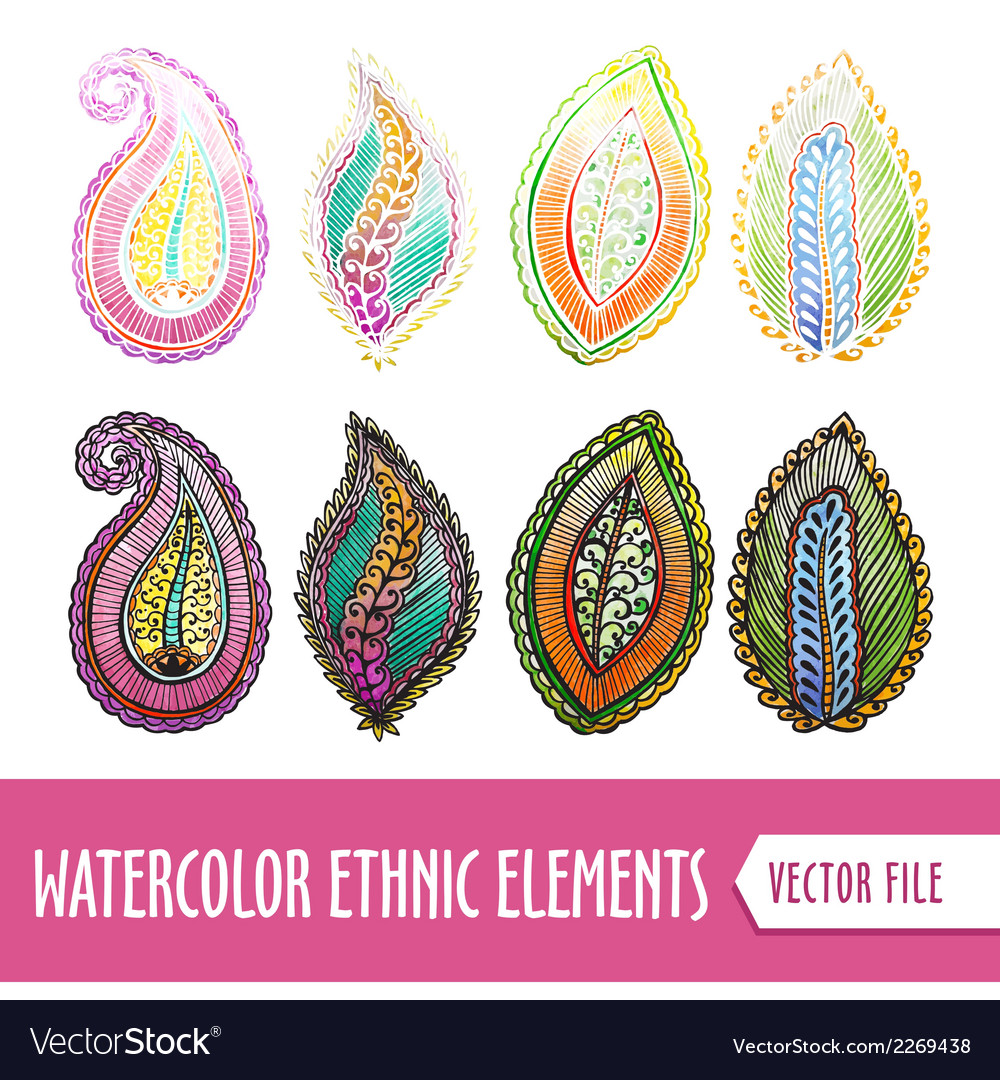 Watercolors ethnic elements vector | Price: 1 Credit (USD $1)