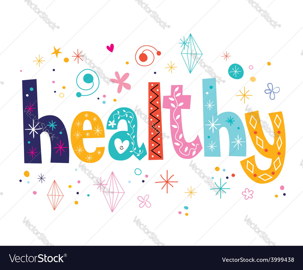Word healthy decorative lettering type design vector | Price: 1 Credit (USD $1)