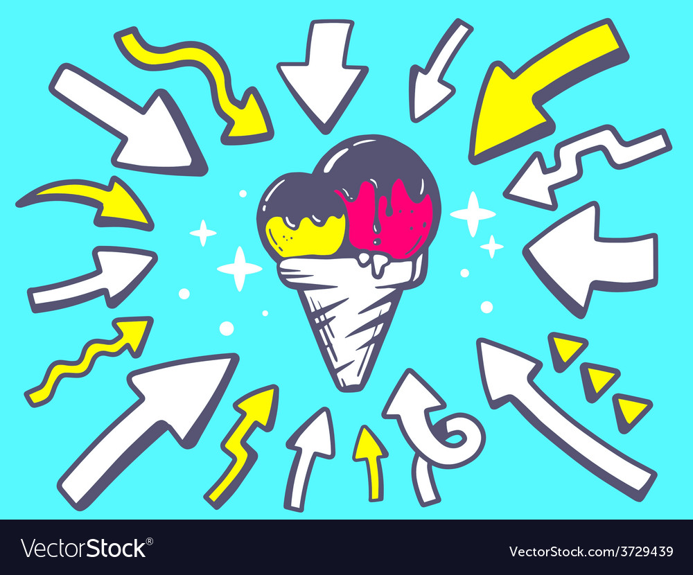 Arrows point to icon of ice cream on gree vector | Price: 1 Credit (USD $1)