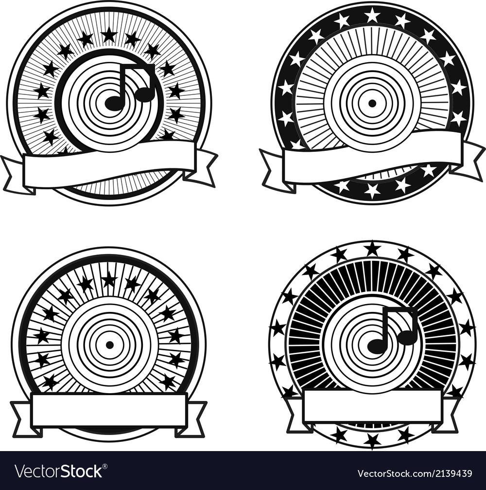 Black and white retro musical record stamp vector | Price: 1 Credit (USD $1)