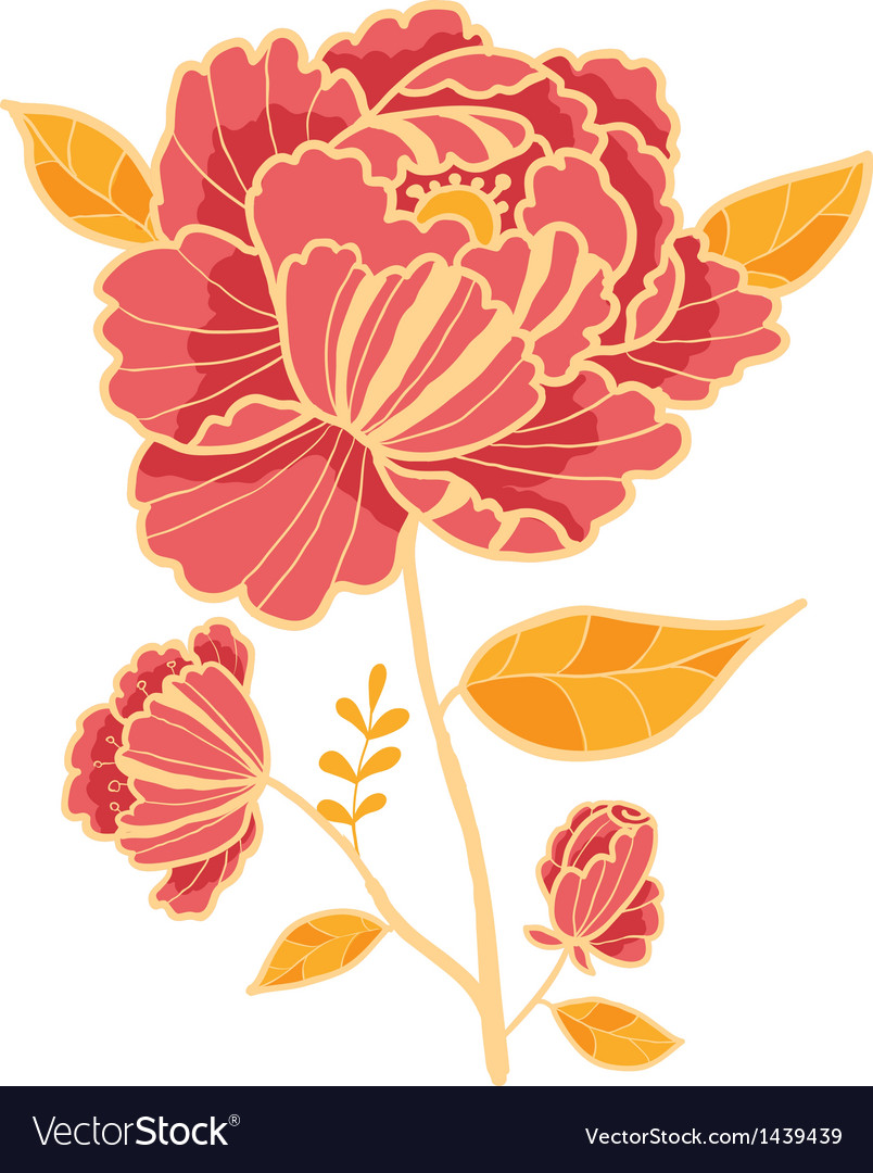 Golden and red flower design element vector | Price: 1 Credit (USD $1)