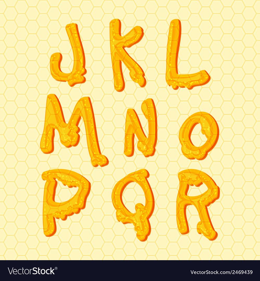 Honey alphabet letters set vector