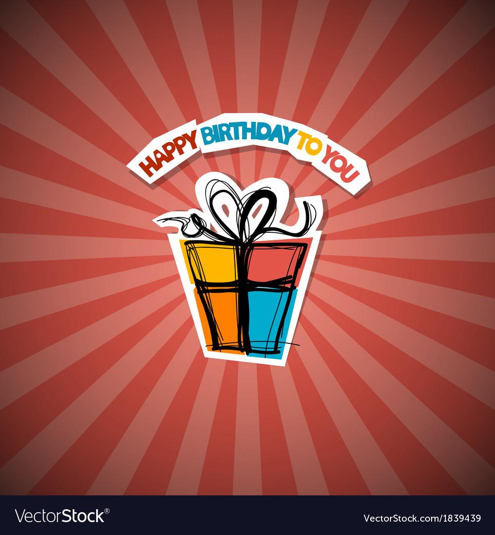 Retro happy birthday red background vector   Price: 1 Credit (USD $1)