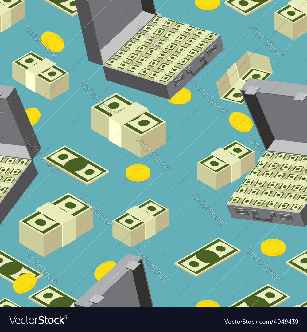 Seamless money pattern suitcase full of money vector