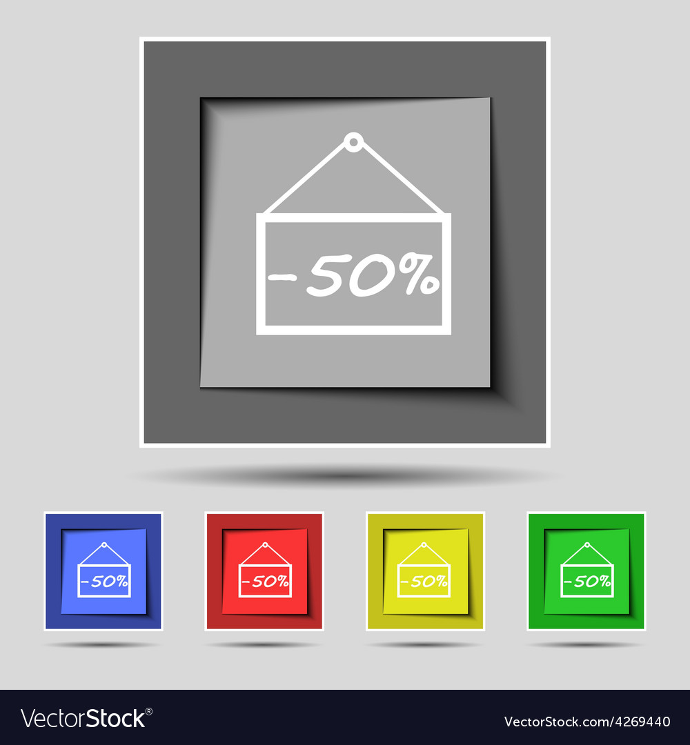50 discount icon sign on the original five colored vector | Price: 1 Credit (USD $1)
