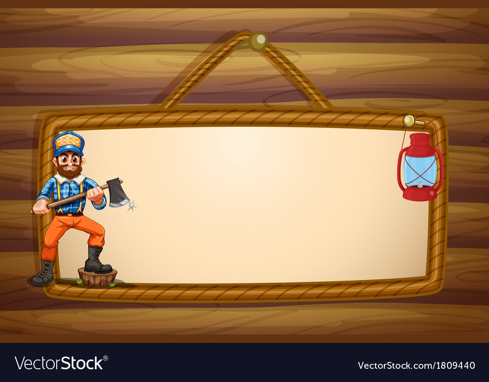 A woodman holding a sharp axe in front of the vector | Price: 1 Credit (USD $1)