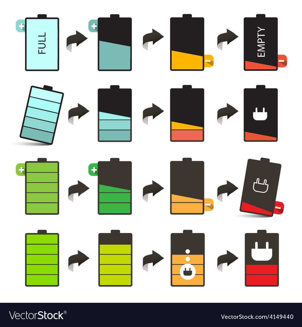 Battery life icons set isolated on white vector | Price: 1 Credit (USD $1)