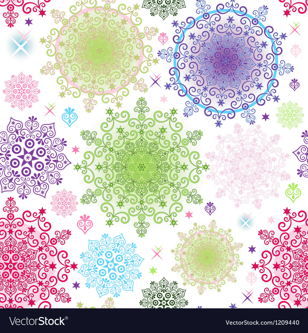 Colorful pattern with lacy vivid circles vector | Price: 1 Credit (USD $1)