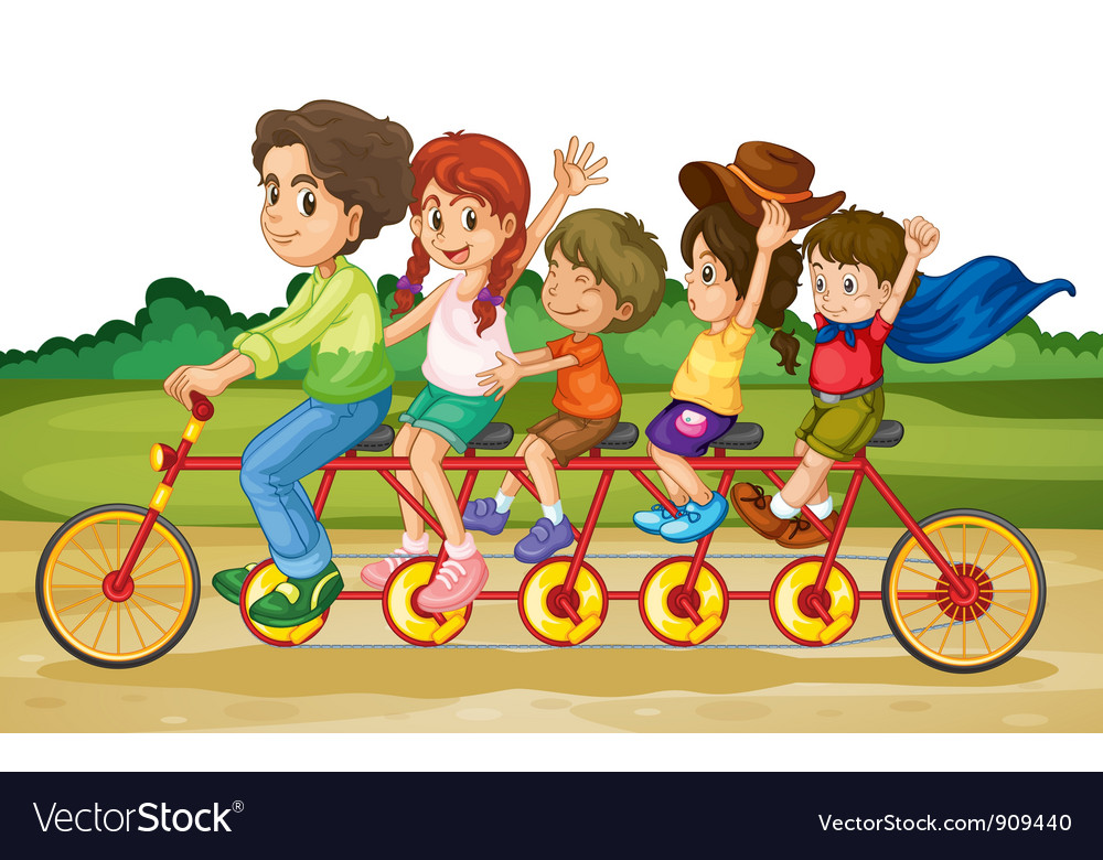 Family on tandem bike vector | Price: 3 Credit (USD $3)