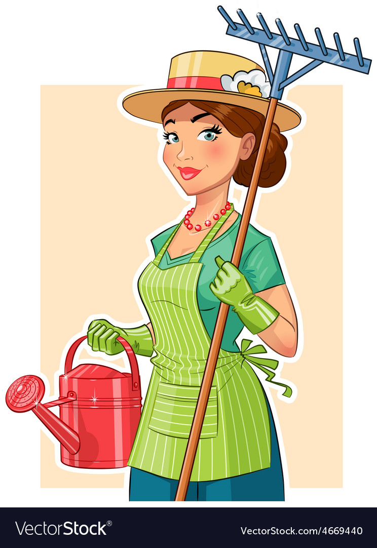 Gardener girl with rake and vector | Price: 3 Credit (USD $3)