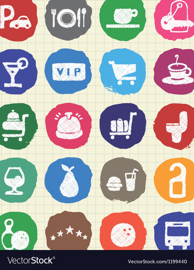 Hotel and service web icons set drawn by chalk vector | Price: 1 Credit (USD $1)
