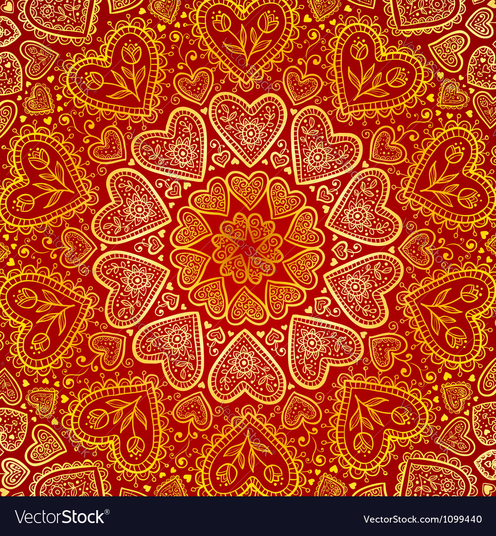 Ornamental round hearts pattern in indian style vector | Price: 1 Credit (USD $1)