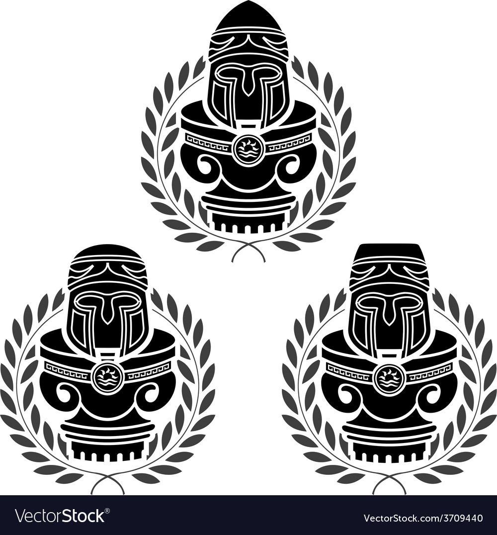 Pedestals of medieval helmets vector | Price: 1 Credit (USD $1)