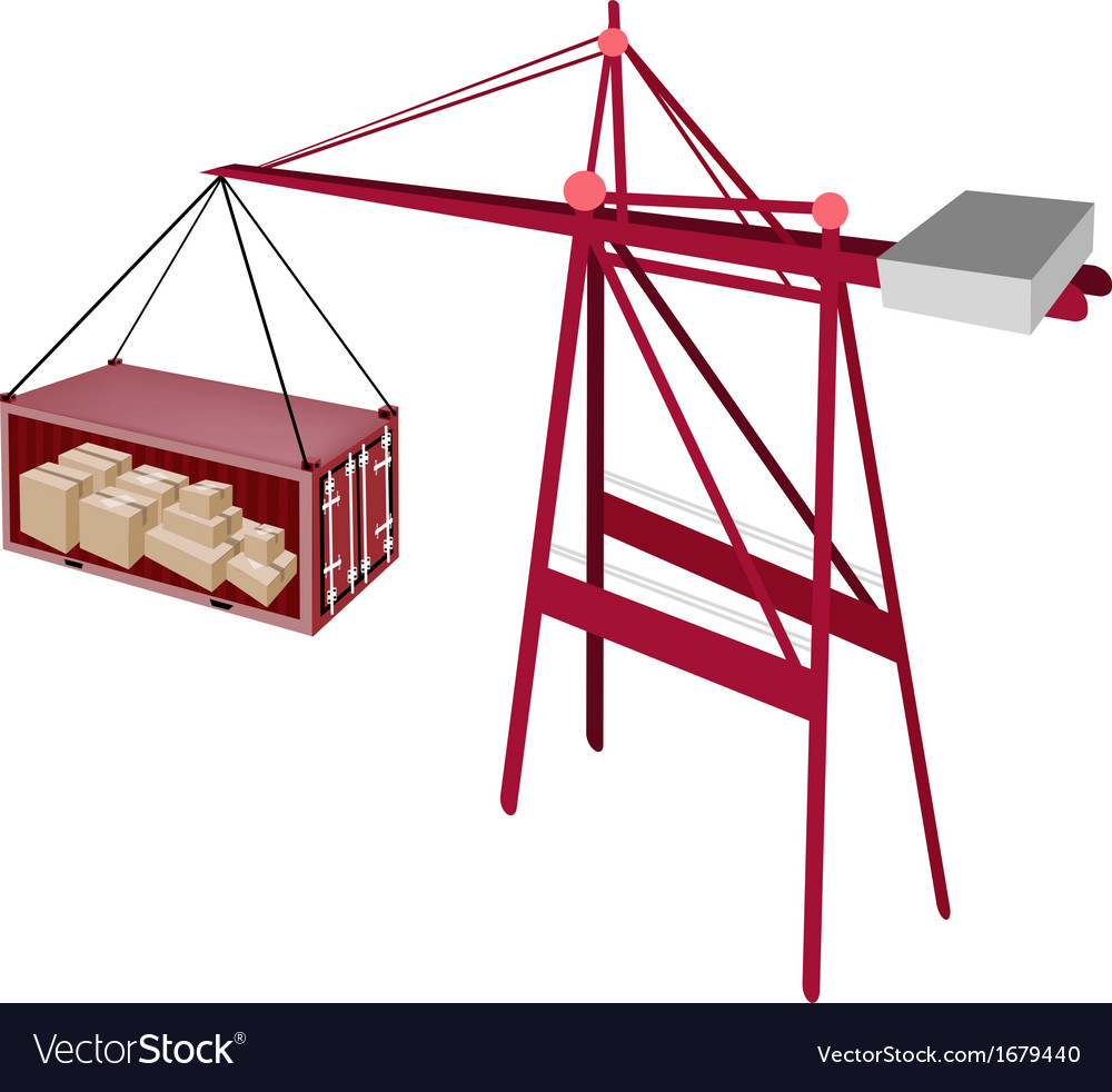 Red shipping container being hoisted by a crane vector | Price: 1 Credit (USD $1)