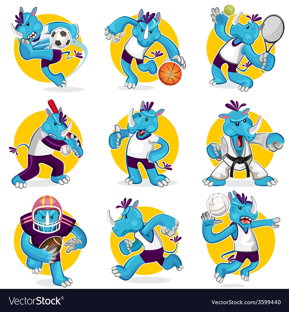 Rhino sports mascot collection set vector | Price: 3 Credit (USD $3)