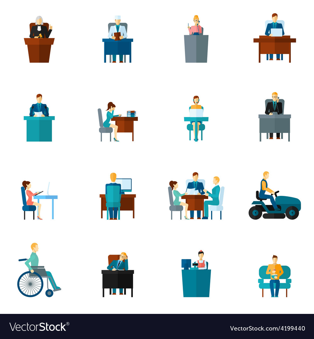 Sedentary icons flat vector | Price: 1 Credit (USD $1)
