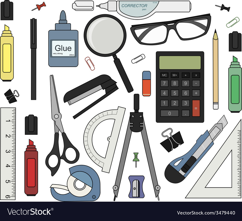 Set of color stationery tools vector   Price: 1 Credit (USD $1)
