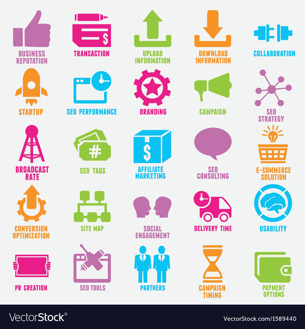 Set of seo and internet service icons vector | Price: 1 Credit (USD $1)