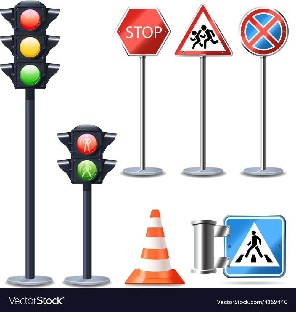 Traffic sign and lights set vector | Price: 3 Credit (USD $3)