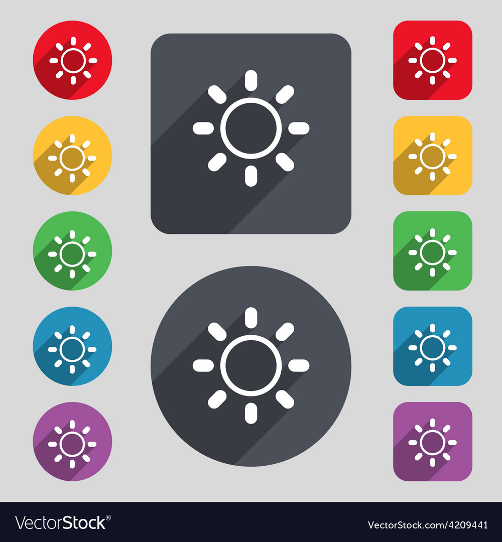 Brightness icon sign a set of 12 colored buttons vector | Price: 1 Credit (USD $1)