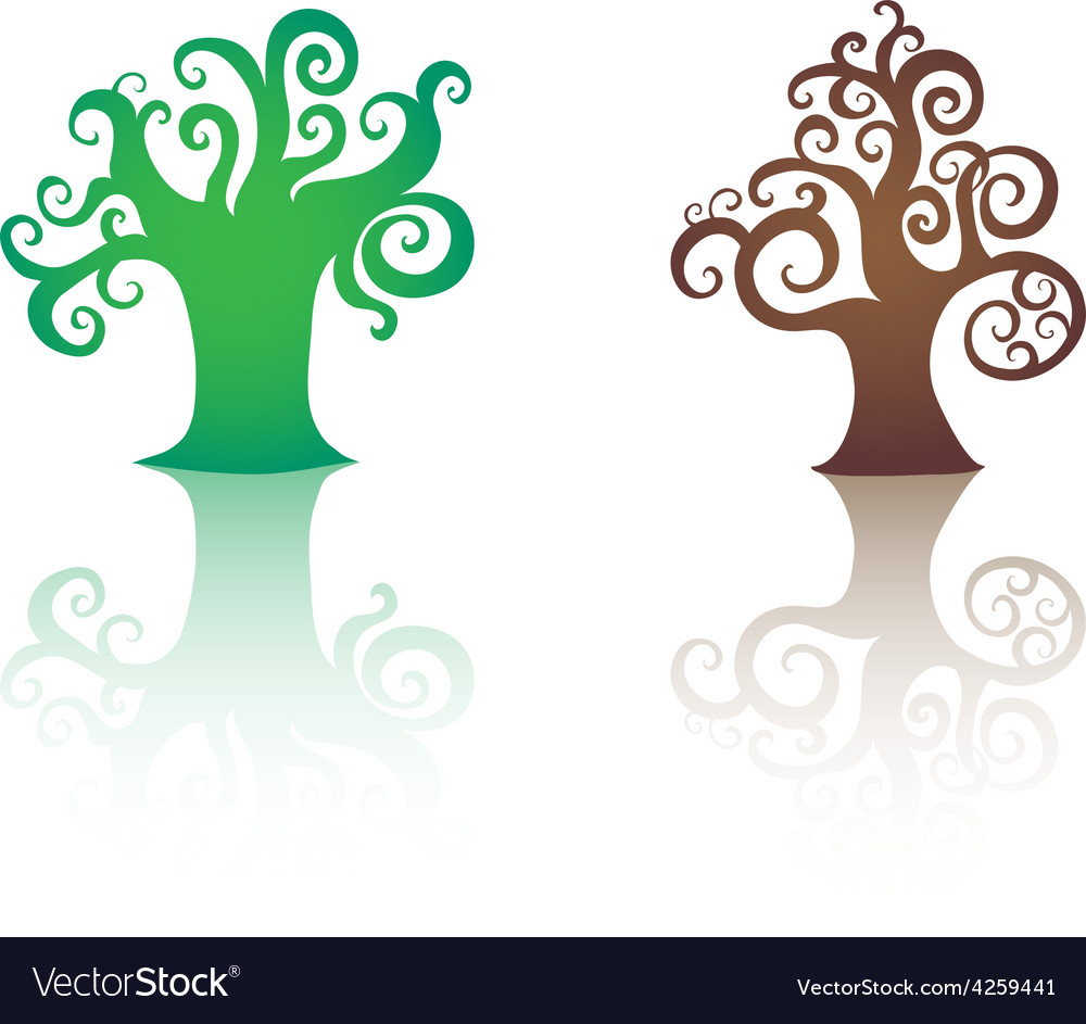 Decorative trees icons isolated vector | Price: 1 Credit (USD $1)