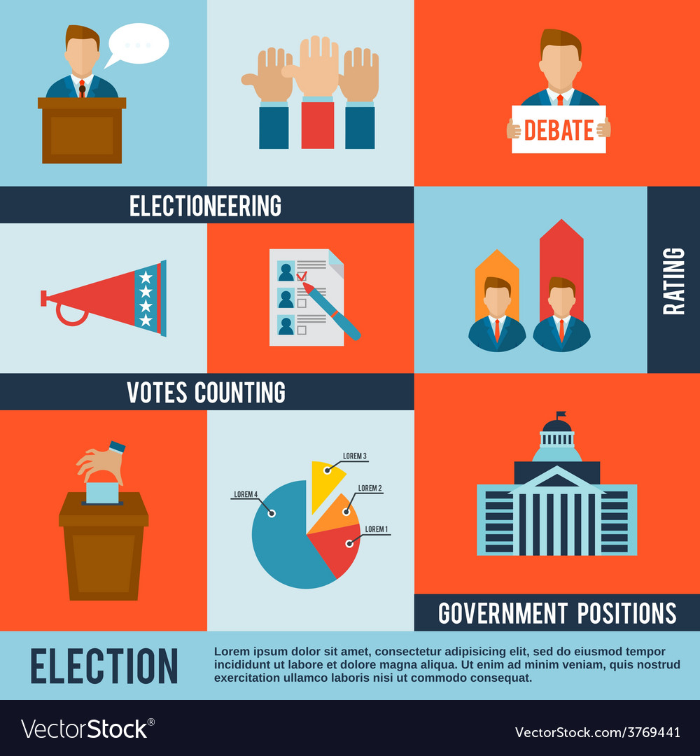 Election icon flat vector | Price: 1 Credit (USD $1)