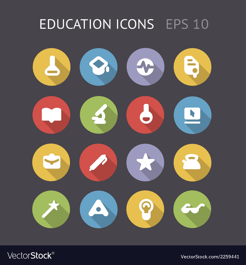 Flat icons for education and science vector | Price: 1 Credit (USD $1)